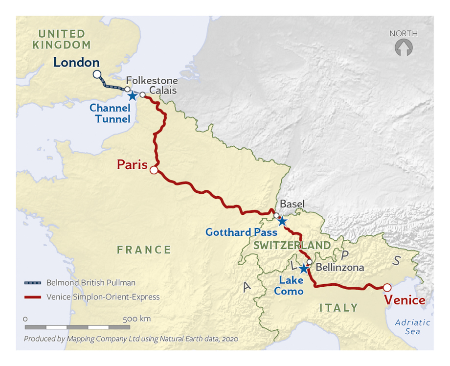 Map of the London, Paris, and Venice journey