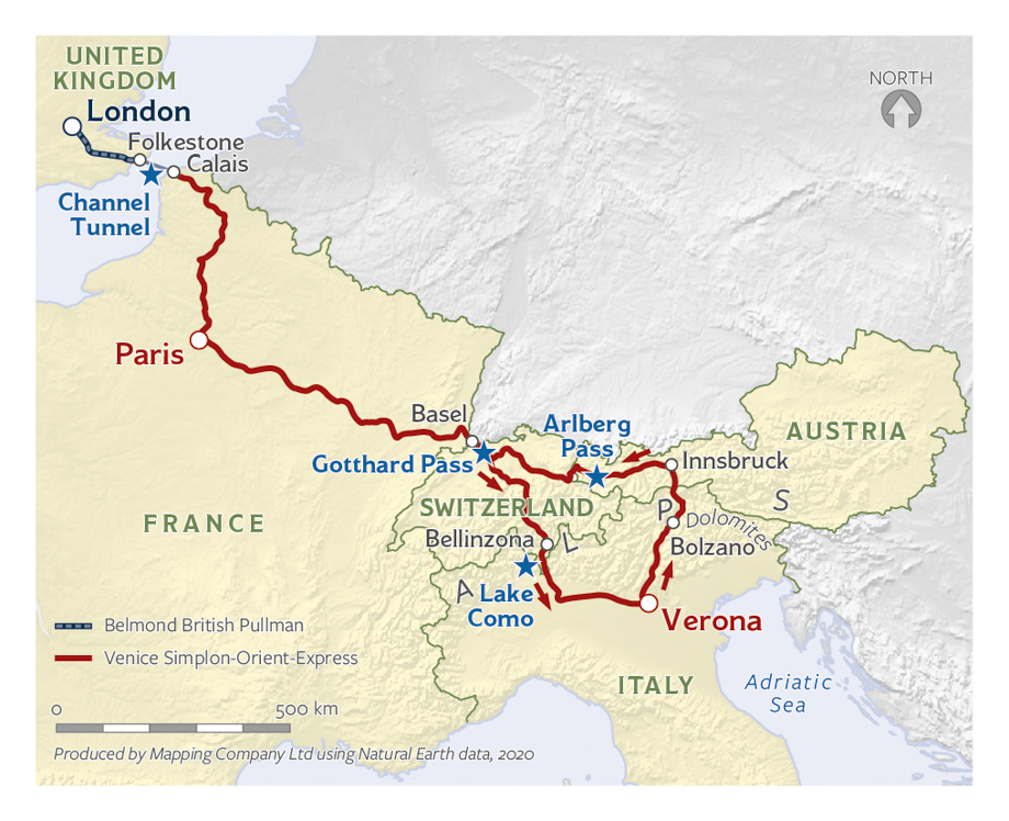 Map of the London, Paris, and Verona journey