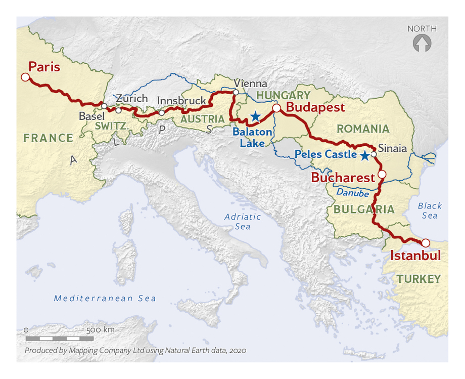 Paris to Istanbul journey map