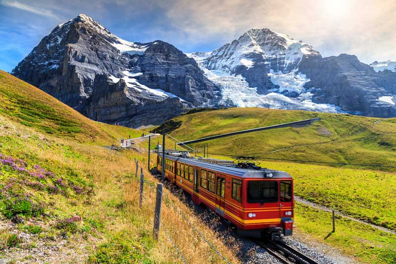 Mountain views aboard the swiss rail spectacular journey.