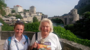 Marina Linke with IRT traveler Melissa Wells during a trip on the Golden Eagle Danube Express. IRT Photo by Angela Walker